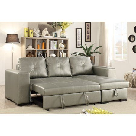 Convertible Sectional Sofa Small Family Living Room Furniture Silver Faux Leather Pull Out Bed Sofa Sectional Sofa Sectional Sofa Couch Leather Sectional Sofas