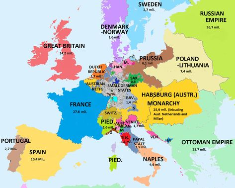 Map Showing Population Of European Countries 1789 On The Eve Of