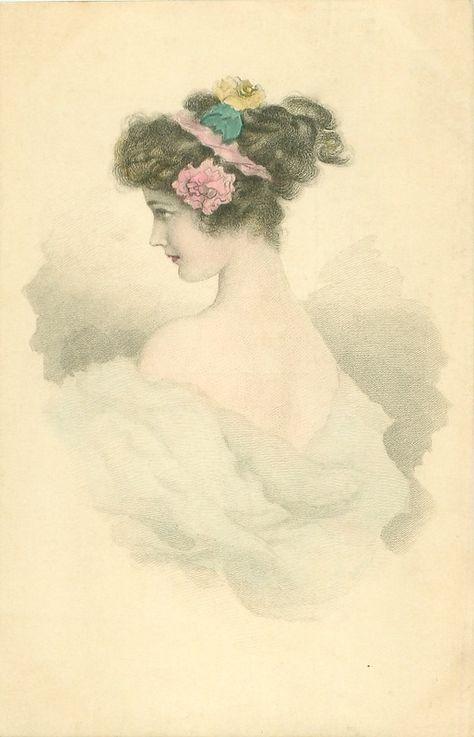 Винтажные открытки женщины, костюмы открытки марта