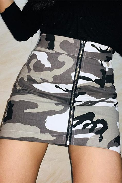 Cool Camouflage Print Front Zipper Skirt – Lupsona