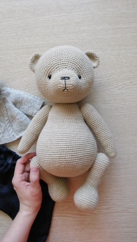 PATTERN Crochet Teddy bear. PATTERN Amigurumi Teddy bear. Size of the finished toy about 32 cm (12,59') Level: medium. This pattern includes: - pdf file with detailed instructions in English; - 49 pages long and has a lot of pictures (about 70) to help you by working; - job description for thread jointed paws; - job description for cotter pins jointed paws. #etsy #crochetamigurumi #crochetamigurumipattern #CrochetTeddybearpattern #crochetbeardoll #crochetbearpattern