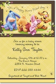 Classic Winnie The Pooh Baby Shower Invitations Printable Borders - Winnie the pooh baby shower invitations templates free
