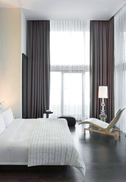 curtains bedroom. I like the idea of curtains on entire wall  not just windows Home Design Pinterest Penthouses Bedrooms and Wind Hotel style bedroom chic