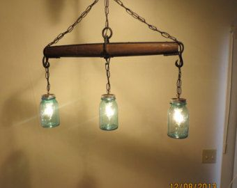 Rustic Handmade 3 Bulb Hanging Light Fixture or L& with Ball Canning Jars u0026 Horse Single Tree | Lighting | Pinterest | Ball canning jars Hangu2026 & Just Reduced!! Rustic Handmade 3 Bulb Hanging Light Fixture or ... azcodes.com