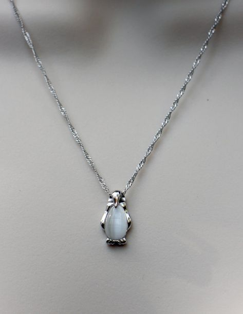 Hey, I found this really awesome Etsy listing at https://www.etsy.com/listing/201604278/sterling-silver-penguin-necklace-cats