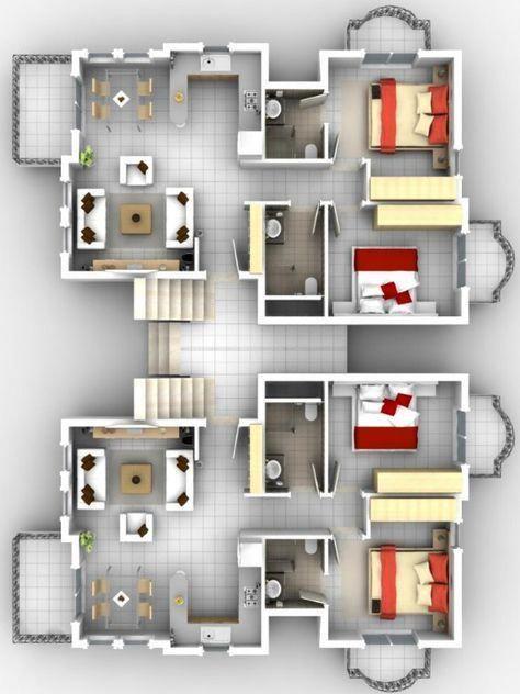 Denah 4 kamar tidur dengan balkon home desain