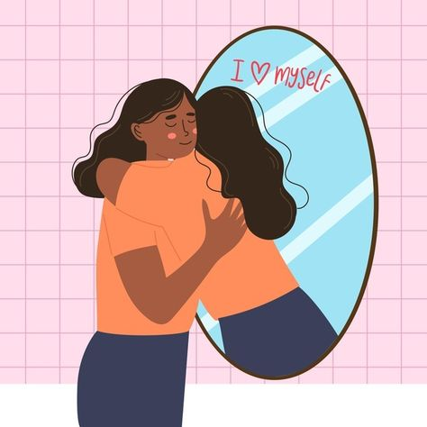High self-esteem with woman and mirror | Free Vector #Freepik #freevector #people #human #person #illustration