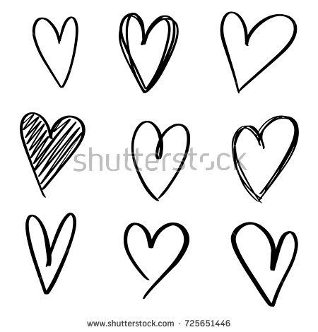 Set Of Nine Hand Drawn Heart Handdrawn Rough Marker Hearts Isolated On White Background Vector Ill Heart Hands Drawing How To Draw Hands Heart Outline Tattoo