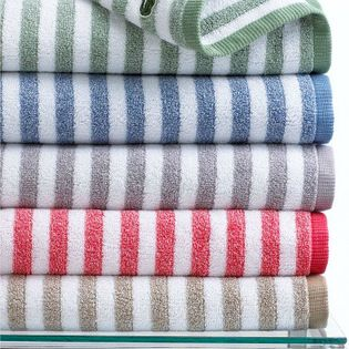 Lacoste Bath Towels Casual Stripe Collection - In any color, these striped  towels would be perfect for display in the bathroom. The line's trademar…