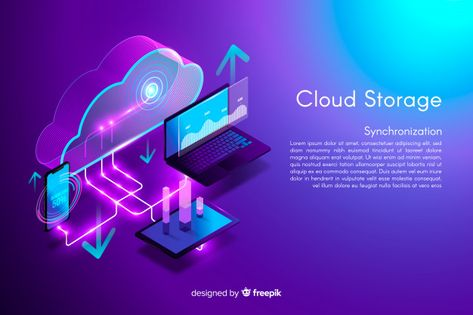 Download Isometric Cloud Storage Background for free