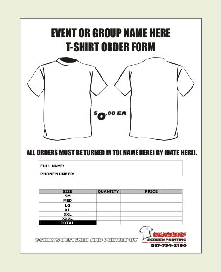 tee shirt order form template excel