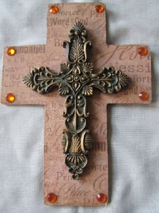 Stacked handmade  inspirational wooden decoupaged wall cross with  ornate resin cross and rhinestones