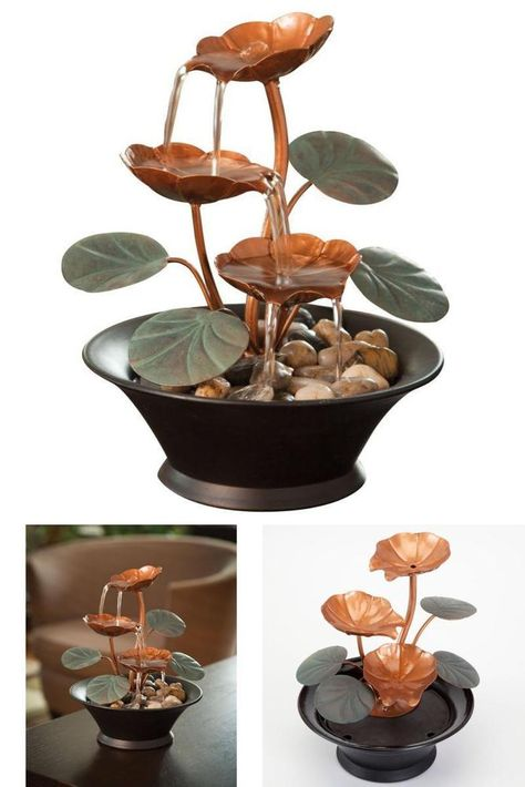 Indoor Water Lily Water Fountain Small Size Perfect Tabletop