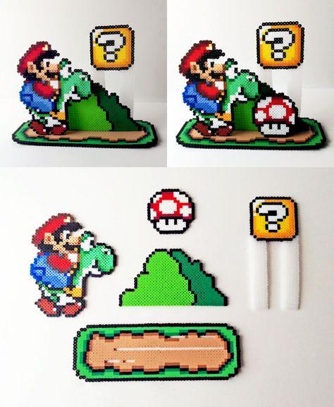 Scène 3D: Super Mario World perler Bead avec Mario et Yoshi