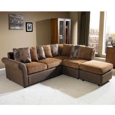 Modern Leather And Fabric Corner Sofa Oxford Left Hand Corner Sofa Chocolate Brown Ogfoega Home Design Leather Corner Sofa Corner Sofa Design Leather Corner Sofa Brown