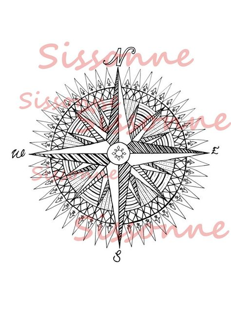 Compass Rose Coloring Page Mandala Instant Download Pdf