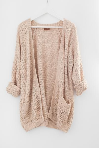 Chunky open front knit cardigan Large front pockets Oversized and ...