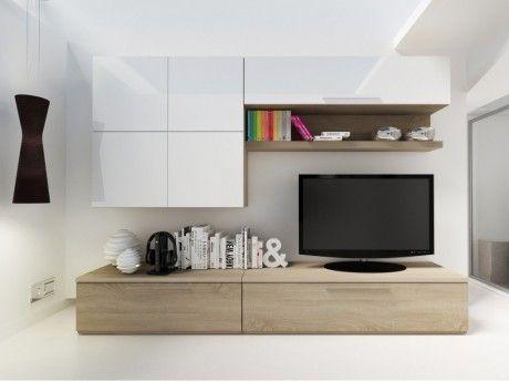 Mur Tv Makasar Avec Rangements Blanc Laque Chene Centre De Loisirs Idee Deco Appartement