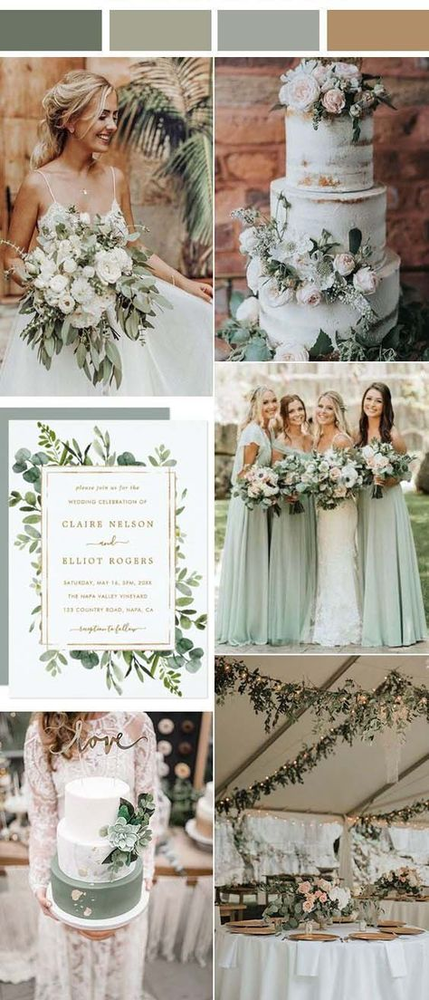 Summer Wedding Colors, Spring Wedding Themes, Early Spring Wedding, Rustic Wedding Colors, Neutral Wedding Colors, Wedding Greenery, Spring Weddings, Color Themes For Wedding, September Wedding Centerpieces