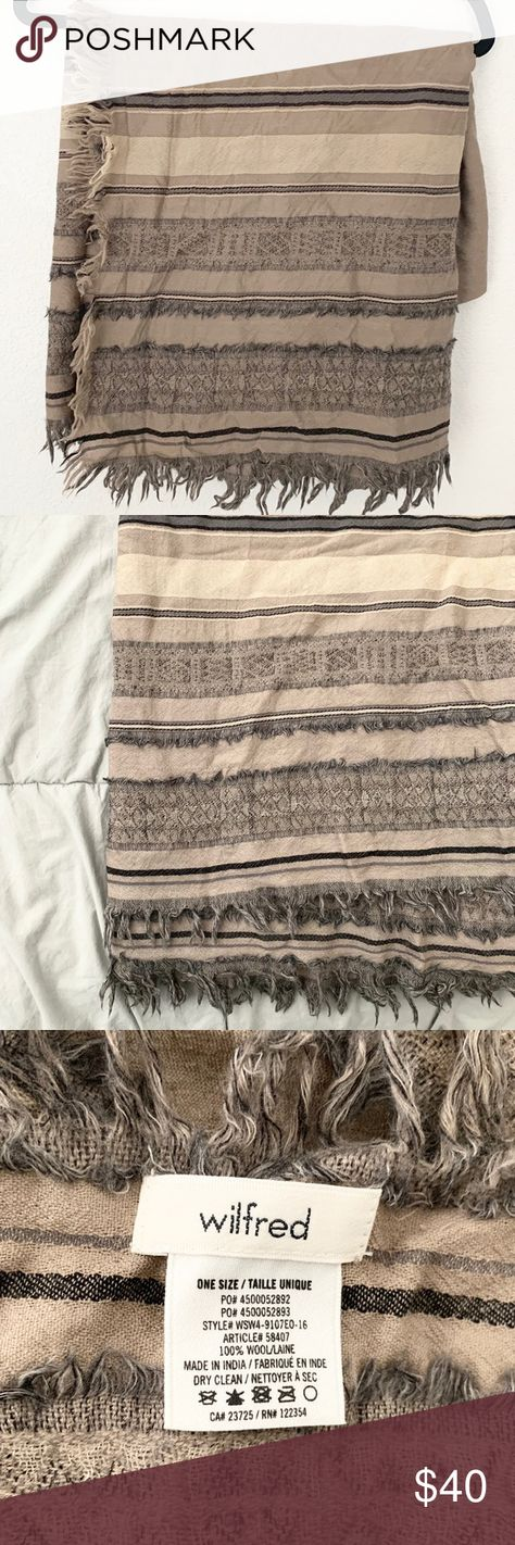 93a34b7a21e39 Aritzia Wilfred Wool Blanket Scarf Gently used. Taupe color with stripe  detail, blanket scarf