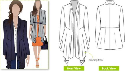 Nina Cardigan Sewing Pattern By Style Arc - Fabulous waterfall front cardigan dress coat outfit