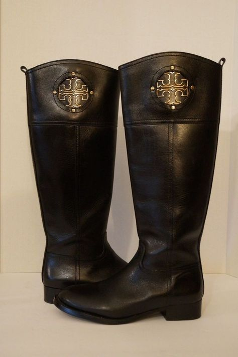 eda122d687d Tory Burch Tall Riding Boots Size 6M Kiernan Black Leather Gold Tone Logo  Zipper  ToryBurch