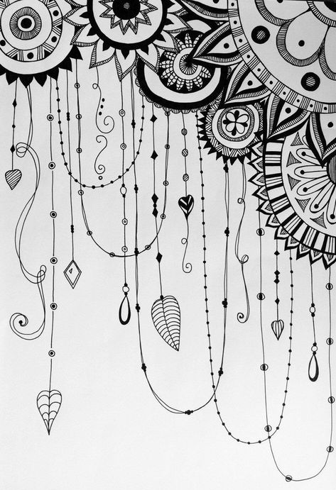 hand drawn dreamcatcher variation zentangle doodle
