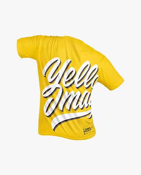 T Shirt Mockup Back View In Apparel Mockups On Yellow Images Object Mockups In 2021 Shirt Mockup Clothing Mockup Tshirt Mockup