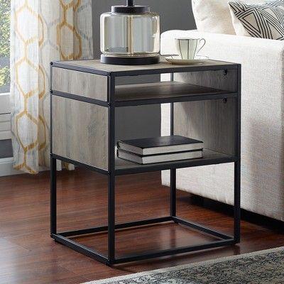 20 Metal And Wood Side Table With Open Shelf Gray Wash Saracina