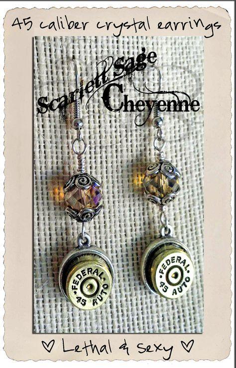 Bullet Jewelry Earrings, Crystal Bullet Pierced Earrings. $23.50, via Etsy.