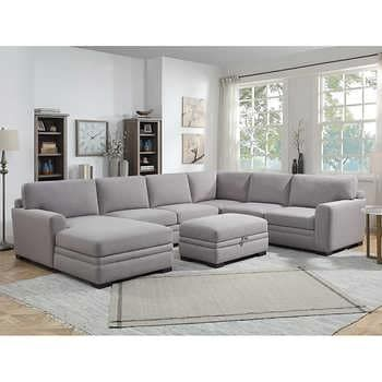Thomasville Fabric Sectional With Storage Ottoman In 2020 Family Room Sectional Fabric Sectional Storage Ottoman