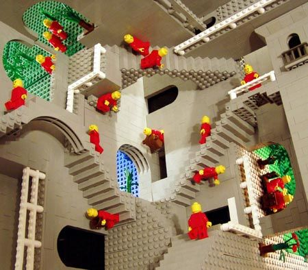"Andrew Lipson, a LEGO building genius, has recreated M.C. Escher's ""Relativity"" with LEGOs."