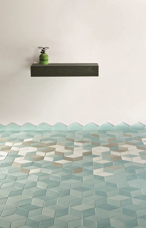 tile floor with diamonds - Handmade tiles can be colour coordinated and customized re. shape, texture, pattern, etc. by ceramic design studios