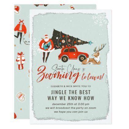 Santa Claus Virtual Christmas Holiday Party Invitation Zazzle Com In 2020 Holiday Party Invitations Holiday Work Party Ideas Holiday Party Themes