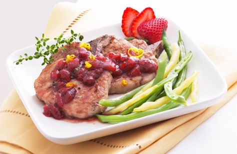 Make this unique recipe! Pork chops with strawberry relish makes a delicious main course. Find this strawberry recipe & more at Naturipe Farms...