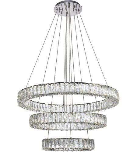 Elegant Lighting 3503g3lc Monroe Led 32 Inch Chrome Chandelier