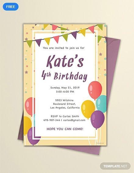 email birthday invitation template