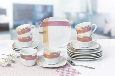 Retsch Arzberg Kaffeeservice ´´Como´´ eckig, Porzellan, mit Dekor ...
