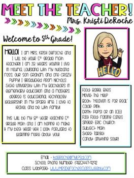Meet The Teacher Newsletter Template Editable Bitmoji Theme