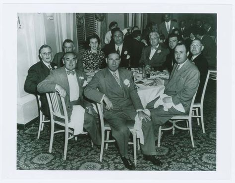 Benjamin Siegelbaum alias Bugsy Siegel, Wendy Barrie and French Lich Seated with Group at Table.     Source: Burton Turkus Papers; Special Collections, Lloyd Sealy Library, John Jay College of Criminal Justice http://www.lib.jjay.cuny.edu/crimeinny/