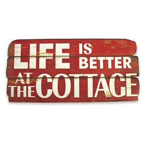 """Aint that the truth! Rustic-look sign lets everyone know where you love to be, and is the perfect décor for at the cottage or at home (as you dream about the weekend). Makes a great gift! MDF sign has steel hooks for hanging. 24""""L x 11-1/4""""H x 1""""W. 29.98"""