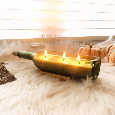 Cut Wine Bottle Candle Soy and Beeswax Blend Triple Wick Wine Bottle Candles, Liquor Bottles, Soy Candles, Wine Bottle Windchimes, Wine Bottle Fountain, Cut Bottles, Wine Bottle Tiki Torch, Wine Bottle Glasses, Wine Bottle Corks