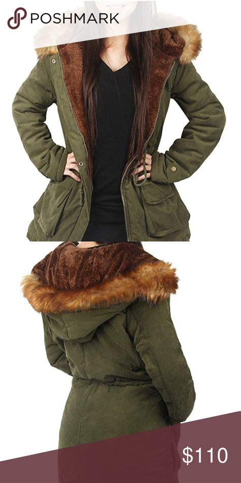 91a013c179 Parka Hooded Warm Jacket Winter Coat Lined Fur Womens Parka Jacket  Material  Super soft and durable polyester shell with high quality faux fur  lining for ...