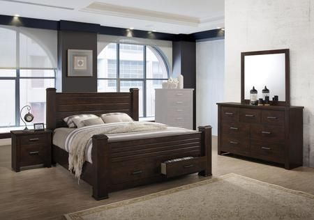 Kennedy Collection KE405QNMDR 4-Piece Bedroom Set with Queen ...