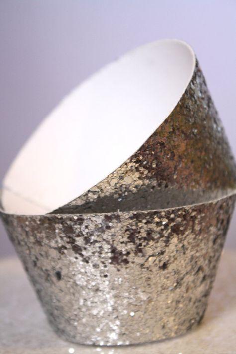 Silver Glitter Cupcake Wrapper
