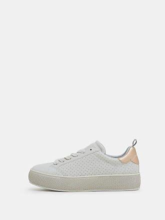 Esprit Plateau Sneaker in Leder Optik, grau, PASTEL GREY