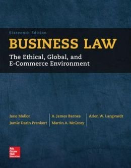 Instant Test Bank For Business Law 16th Edition Jane Mallor Item Details Type Digital Copy Doc Docx Pdf Rtf In Zip File