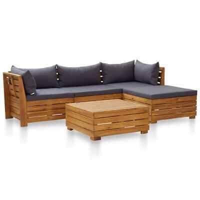 Vidaxl Akazie Gartenmobel 5 Tlg Auflagen Dunkelgrau Lounge Sofa Sitzgruppe Ebay Graue Mobel Sitzgruppe Gartenmobel