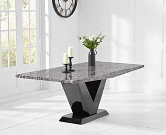 Verbier 200cm Grey V Pedestal Marble Dining Table Mesa Sala De Jantar Mesa De Marmore Mesa Sala