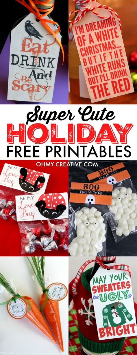These Super Cute Holiday and Seasonal Free Printables are free to print all the time. You will find bag topper printables, gift tag printables and more! A fun printable collection for family and friends - great classroom printables for the kids to give as holiday treats!  |  OHMY-CREATIVE.COM